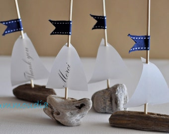 Personalized wedding favors-Thank you cards-Personalized place cards -Driftwood sailboat with printed sail-beach wedding & bridal shower