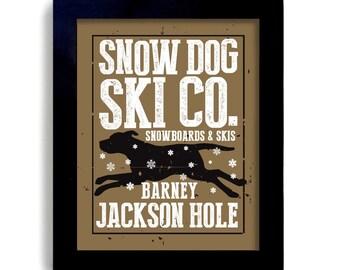 Black Labrador Retriever Winter Dog Snowboard Skiing Art Personalized Snow Dog