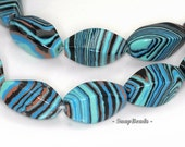 Matrix Turquoise Gemstone Blue Stripe Twist Barrel Tube 16x8mm Loose Beads 7 inch Half Strand (90145187-215)