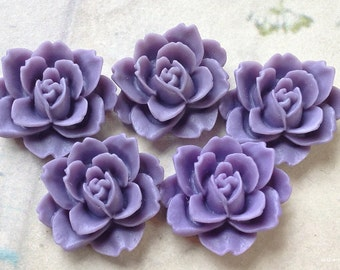 19 x 18 mm  Purple Colour Resin Peony Flower Cabochons (.ag)