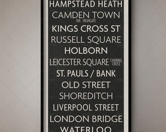 London England Vintage Underground Sign, Underground Poster, London Underground Print, London Typography, London Art, London Decor, British