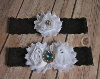 Black Lace Aqua Blue Rhinestone Wedding Garter Set - Choose White or Ivory Flowers