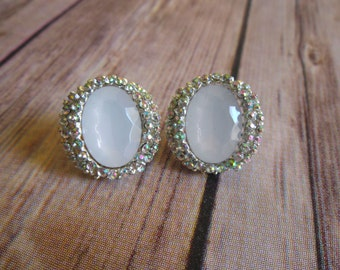 Sparkling White Faceted AB Rhinestone Stud Earrings