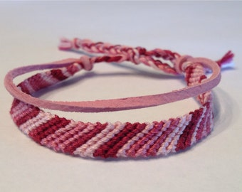Burgundy Ombré Stripes - with Pink Suede - Friendship Bracelet