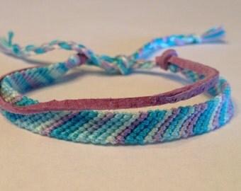 Aqua & Purple Ombré Stripes - Friendship Bracelet - with Suede
