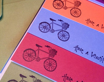 Bicycle - Beautiful Day - Colorful Stampted Note Cards - Set of 5