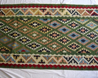 "Vintage Turkish Kilim Rug, 81"" x 43"""