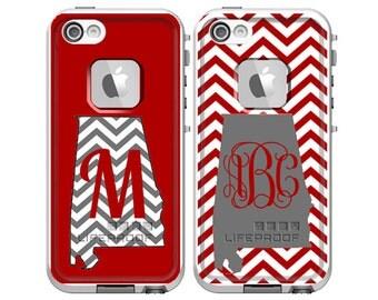 Monogrammed LifeProof Fre iPhone 5s, iPhone 5 or iPhone 4/4s Phone Case - Chevron Alabama Football Crimson & Gray Design Phone Case