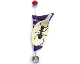 Polymer clay brooch, ant, spoon, unusual, white, purple ready to ship