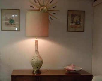 Mid Century Modern 1960s Tile lamp with brass accents
