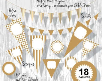 Gold Party Decorations Birthday Banner PDF Editable Stripe Polka Dot Pennants 3 Sizes 18 Banners : BA0201 3s4350