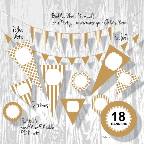 Gold Party Decorations Birthday Banner PDF Editable Stripe