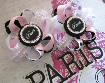 Momma Eva's -- Shabby Chic Paris Hair Bow Set / 2 Bows Included // 2.5 inch Design // Lace & Pearls