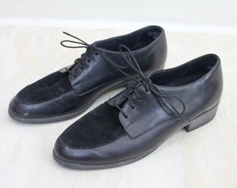 Vintage Black Suede & Hard Leather Oxfords Sz 7.5
