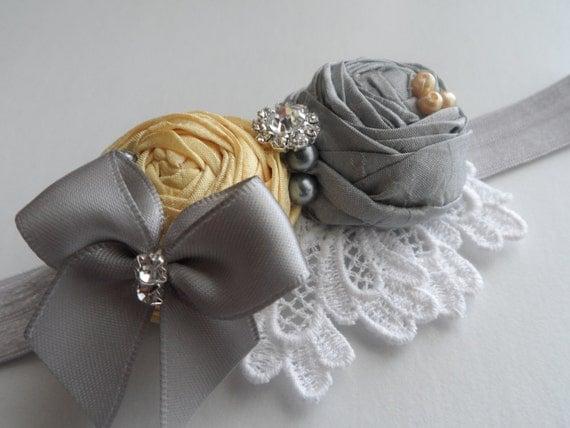 Yellow and Gray headband / Rosette Headband With Rhinestone Center / Photo Prop./ wedding/Toddlers / Girls .