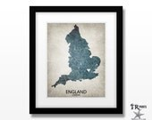 England Map Print - Home Is Where The Heart Is Love Map -  Original Custom Map Art Print Available in Multiple Size and Color Options