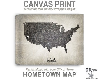 USA Map Stretched Canvas Print - Home Is Where The Heart Is Love Map - Original Personalized Map Print on Canvas