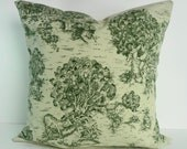 Emerald Green Decorative Toile Pillow Cover, Country Forest Green,  Green, Pillow Cushion,  20 x 20