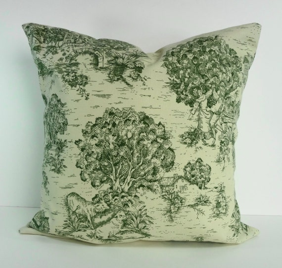 emerald green decorative toile pillow cover country by. Black Bedroom Furniture Sets. Home Design Ideas