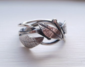 Elvish leaf vein ring - sterling silver