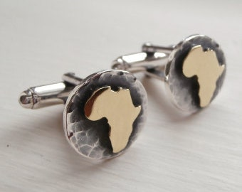 Rustic Gold Africa Cuff Links Gold Africa Cufflinks African Continent Cufflinks Map Cuff Links - Sterling Silver (925) + Brass