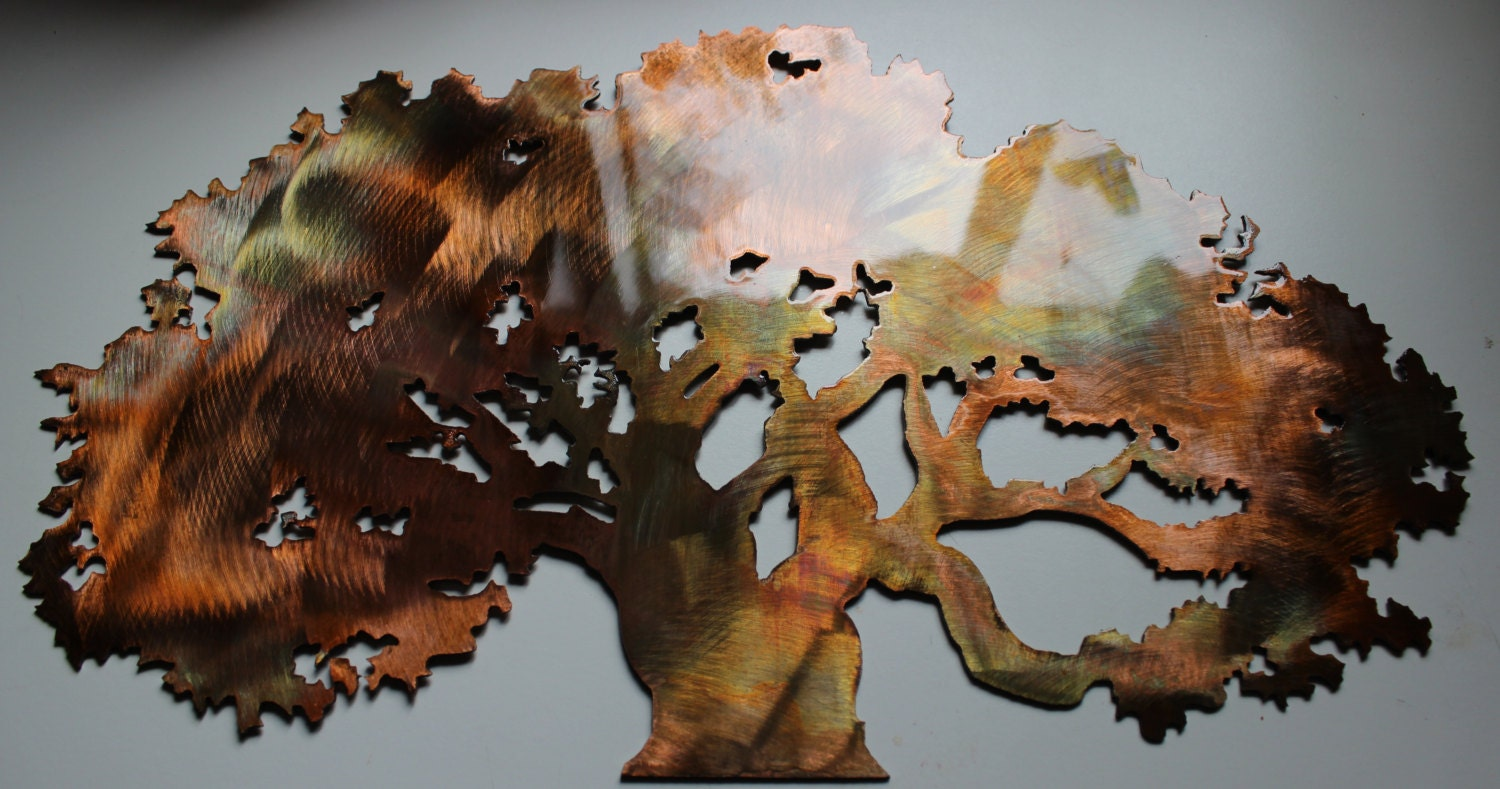 Metal Sculptures And Art Wall Decor: The Oak Tree Metal Wall Art Accent Decor By