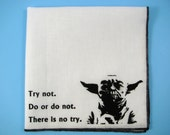 Hankie- YODA shown on super soft white cotton hanky-or choose from any solid color or plaids shown in pics
