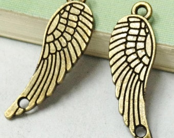 20pcs Antique Bronze Angel Wing Charm Pendants with Loops 10x30mm E306-2