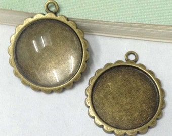 Cabochon Base Settings -15pcs Antique Bronze Round Flower Cameo Setting Tray Charm Pendant 16mm G106-1