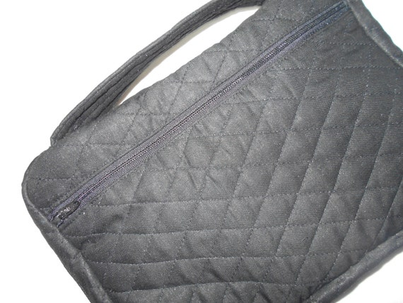 Fabric Book Cover With Pocket : Zipper bible cover black quilted fabric with zippered