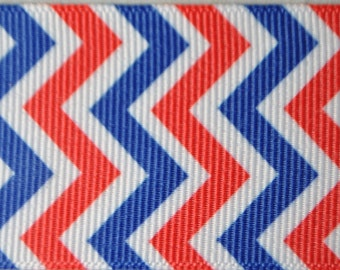 Chevrons Red, White and Blue, 1.5 inches wide - 2 Yards