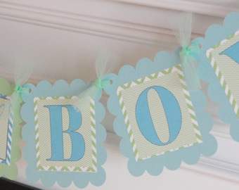 """Light Green Light Blue Chevron Baby Shower """"Boy Oh Boy"""" Banner - Ask About our Party Pack Specials"""