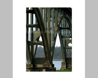 Bridge Architecture Arches Masculine Newport Oregon, Father's Day Gift, Original Photograph, Fine Art Photography signed matted 5x7 print
