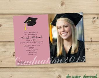 Photo Graduation Invitation, High School Graduation Invitation, College Graduation Invitation, Graduation Party Invitation, 2016
