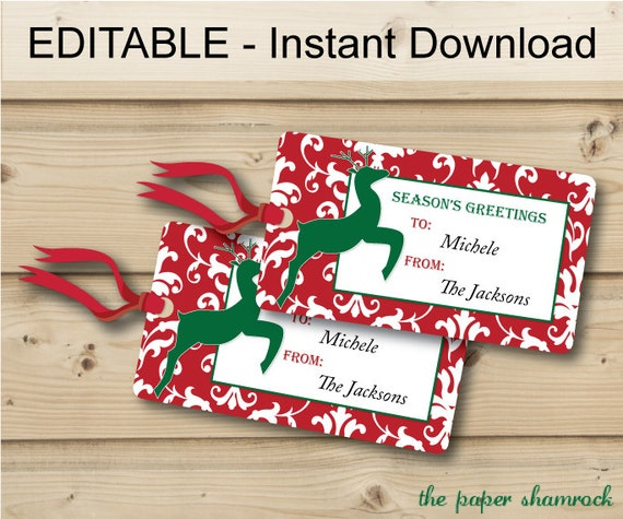 items similar to christmas gift tags holiday gift tags christmas tags hang tags printable. Black Bedroom Furniture Sets. Home Design Ideas