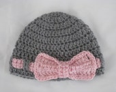 Crochet Baby Beanie with Bow - Vegan Winter Cap Hat Children Kids girls folk boho hippie Gray Pink Autumn Fall Christmas Gift MADE TO ORDER
