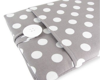 MacBook Air Case, MacBook Air Sleeve, MacBook Air 11 Case, MacBook Air 11 Sleeve, 11 Inch MacBook Air Sleeve - Grey Polka Dot