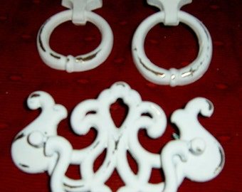 40% Off, Vintage, Drawer Pulls, Painted White, Distressed,  Drawer Knobs, Chippendale, Cabinet Supplies, Furniture Supplies