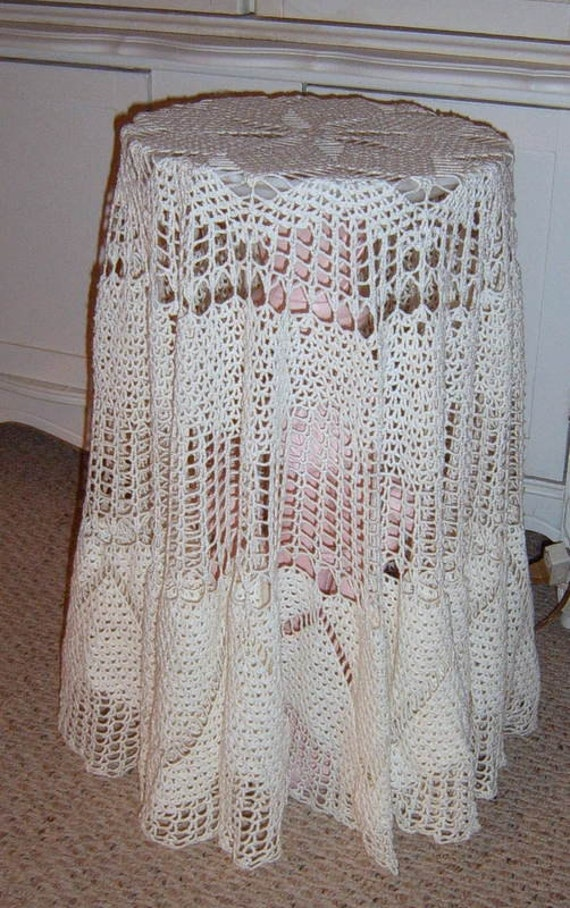 Vintage Crochet Round Tablecloth 60 inch Round Table Cloth