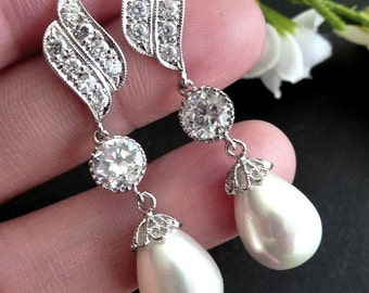 Bridal Earring - Large White Teardrop Pearl, Round CZ Drop with White Gold Plated Peardrop Cubic Zirconia Post Earring