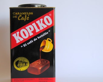 Antique - vintage -  metal - tin - STORAGE BOX - Kopiko