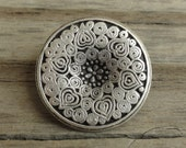 """2 Round Large """"Midsummer"""" Metal Buttons with Etched Pattern Antiqued Silver - 3/4"""" - Flower, Hearts, and Swirls"""
