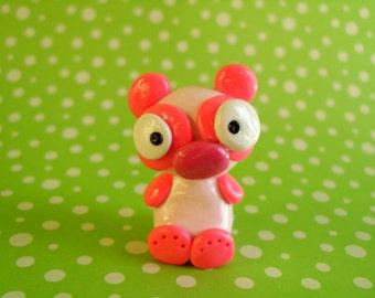 Pink Panda Bear Polymer Clay Animal Ooak Gift Figure Figurine Miniature Cute