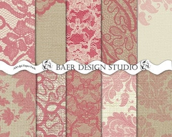 50% off Sale:Red and Ivory Digital Paper, Digital Paper Vintage, Lace Digital Paper, Red Lace Digital Paper, Burlap and Digital Paper #15202