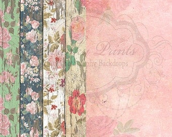 COMBO 5ft x 5ft Vinyl Photography Backdrops / Vintage Floral Wood and Pink Rose Texture  /  TWO BACKDROPS