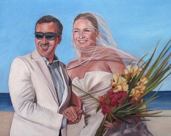 Personalized Wedding Gift - Custom Portrait Painting - Anniversary Gift