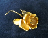 Vintage Gold Rose Brooch FREE SHIPPING  Cerrito 1981  original box  Rose De Noel  VintageShabbyToChic