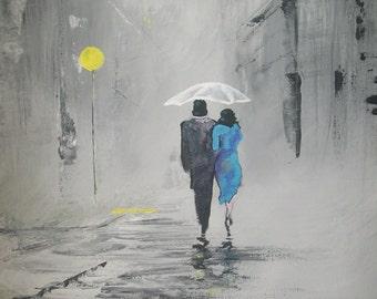 A Romantic walk in the rain ACEO art print