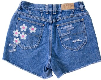 High Waisted Denim Shorts Vintage Ripped Distressed Floral Daisy Flower Hand Painted Boho Coachella Hipster Medium Large W30