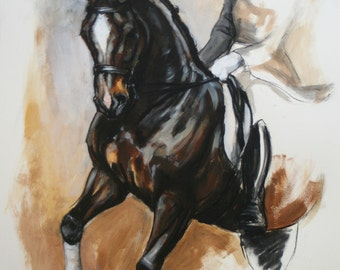 Beautiful equine art horse art limited edition dressage horse print 'Pirouette' from an original mixed media sketch by artist H Irvine